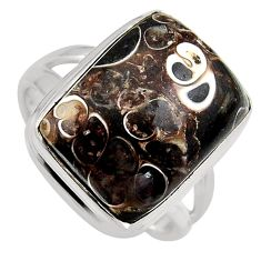 925 silver 13.79cts natural turritella fossil snail agate ring size 8.5 p95539