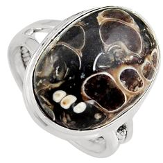 13.71cts natural brown turritella fossil snail agate silver ring size 8 p95540