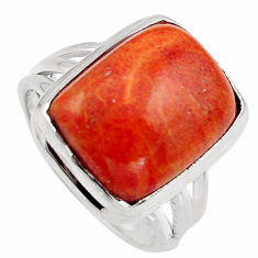 10.64cts red copper turquoise 925 silver solitaire ring jewelry size 7 p95547