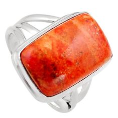 9.63cts red copper turquoise 925 silver solitaire ring jewelry size 7 p95553