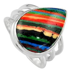 13.50cts natural rainbow calsilica 925 silver solitaire ring size 7 p95580