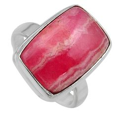 Natural pink rhodochrosite inca rose 925 silver solitaire ring size 8 p95589