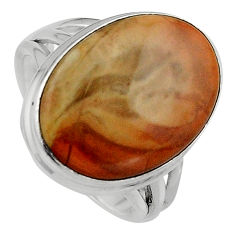12.34cts natural brown imperial jasper 925 silver solitaire ring size 7.5 p95667