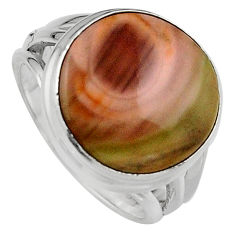 12.06cts natural brown imperial jasper 925 silver solitaire ring size 6.5 p95670