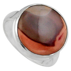 11.55cts natural brown imperial jasper 925 silver solitaire ring size 8 p95672