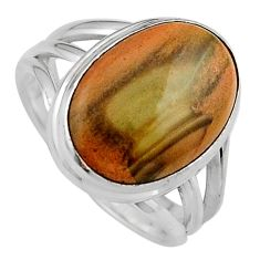 8.03cts natural brown imperial jasper 925 silver solitaire ring size 7 p95673