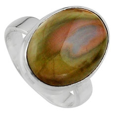9.56cts natural brown imperial jasper 925 silver solitaire ring size 7 p95676