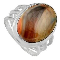 13.98cts natural brown imperial jasper 925 silver solitaire ring size 9 p95677
