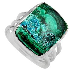 15.76cts natural malachite in chrysocolla silver solitaire ring size 8 p95715