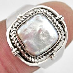 5.13cts natural white pearl 925 sterling silver solitaire ring size 7 p95728