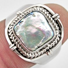 925 sterling silver 5.55cts natural white pearl solitaire ring size 8.5 p95729