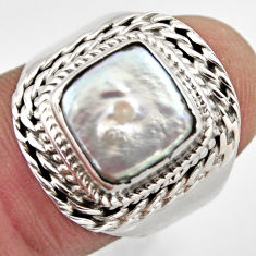 5.69cts natural white pearl 925 sterling silver solitaire ring size 8 p95730