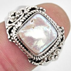 5.38cts natural white pearl 925 sterling silver solitaire ring size 8 p95733