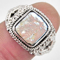 925 sterling silver 5.13cts natural white pearl solitaire ring size 8 p95738