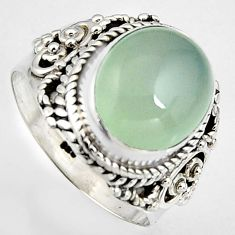 5.52cts natural aqua chalcedony 925 silver solitaire ring jewelry size 7 p95743