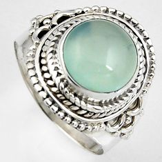 925 silver 5.52cts natural aqua chalcedony oval solitaire ring size 8.5 p95750