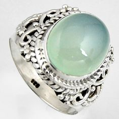 5.52cts natural aqua chalcedony 925 silver solitaire ring size 6.5 p95751