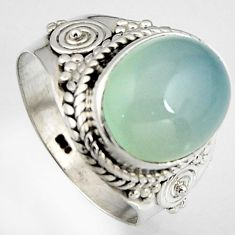 5.27cts natural aqua chalcedony 925 silver solitaire ring size 6.5 p95753