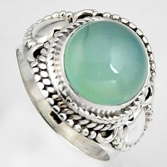 5.38cts natural aqua chalcedony 925 silver solitaire ring size 6.5 p95758