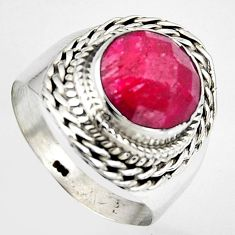 5.74cts natural red ruby 925 sterling silver solitaire ring size 8.5 p95762