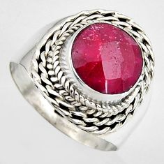 5.28cts natural red ruby 925 sterling silver solitaire ring size 9 p95763