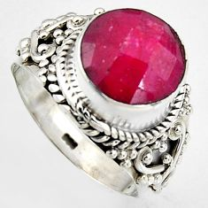 925 sterling silver 5.74cts natural red ruby solitaire ring size 6.5 p95764