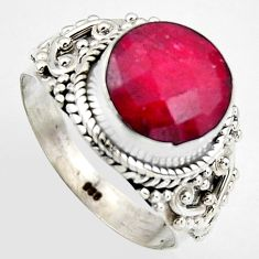5.79cts natural red ruby 925 sterling silver solitaire ring size 8.5 p95766