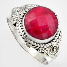 5.52cts natural red ruby 925 sterling silver solitaire ring size 8 p95767