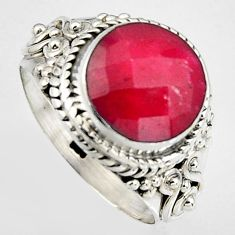 925 sterling silver 5.79cts natural red ruby round solitaire ring size 7 p95768