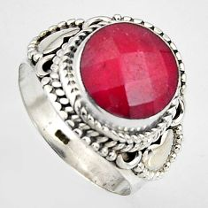 5.51cts natural red ruby 925 sterling silver solitaire ring size 6.5 p95769