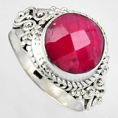 5.53cts natural red ruby 925 sterling silver solitaire ring size 7.5 p95770