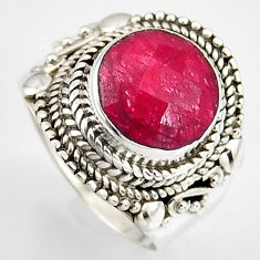 5.01cts natural red ruby 925 sterling silver solitaire ring size 8 p95771