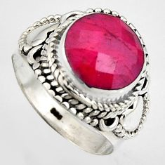 5.52cts natural red ruby 925 sterling silver solitaire ring size 7 p95772
