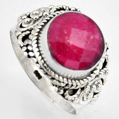 925 sterling silver 5.54cts natural red ruby round solitaire ring size 8 p95773
