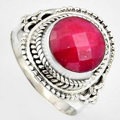 5.75cts natural red ruby 925 sterling silver solitaire ring size 8 p95774