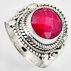 5.01cts natural red ruby 925 sterling silver solitaire ring size 8 p95775
