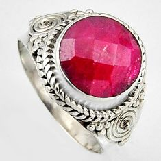 5.38cts natural red ruby 925 sterling silver solitaire ring size 7 p95776