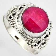 925 sterling silver 5.38cts natural red ruby round solitaire ring size 9 p95778