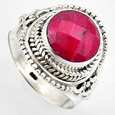 5.75cts natural red ruby 925 sterling silver solitaire ring size 8 p95779