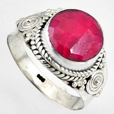4.94cts natural red ruby 925 sterling silver solitaire ring size 8.5 p95780
