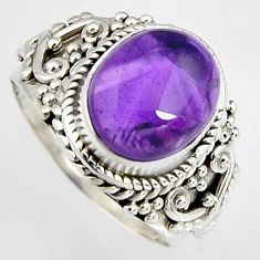 925 silver 5.08cts natural purple amethyst solitaire ring jewelry size 7 p95784