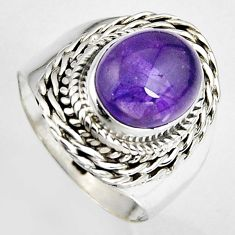 5.12cts natural purple amethyst 925 silver solitaire ring jewelry size 8 p95786