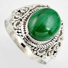 925 silver 5.47cts natural green malachite solitaire ring size 7.5 p95804