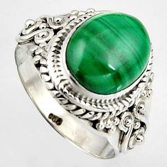 5.33cts natural green malachite 925 silver solitaire ring size 6.5 p95807