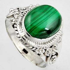 5.07cts natural green malachite 925 silver solitaire ring size 6.5 p95810