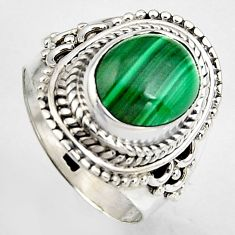 4.38cts natural green malachite 925 silver solitaire ring size 6.5 p95813