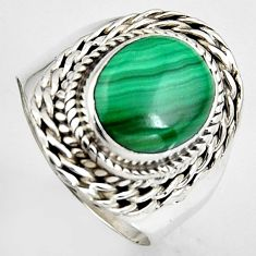 5.07cts natural green malachite 925 silver solitaire ring size 7 p95814