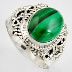 5.50cts natural green malachite 925 silver solitaire ring size 8 p95817