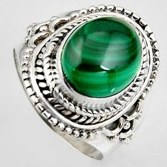 925 silver 5.30cts natural green malachite oval solitaire ring size 7 p95819