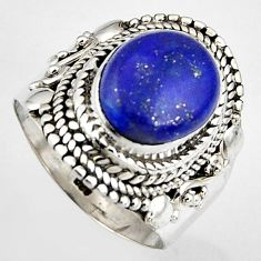 5.41cts natural blue lapis lazuli 925 silver solitaire ring size 6.5 p95821
